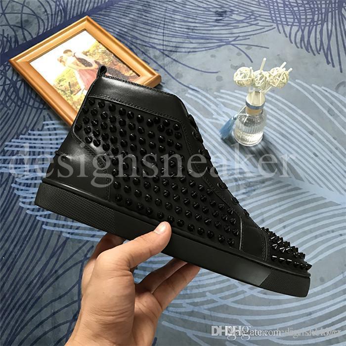 Zapatos de lujo del diseñador de moda tachonado claveteado de zapatos de los planos Zapatos rojos de fondo para los hombres y mujeres amantes de la fiesta del cuero auténtico zapatillas de deporte del zapato