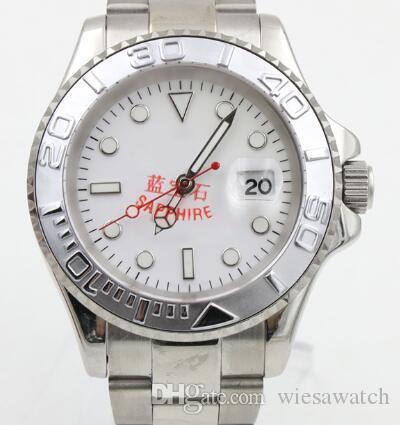 Frete grátis Sapphire 40MM Automatic Movimento dos homens Relógios de pulso Dial Branco Com Mãos tom luminoso prata e Dot Hour Markers