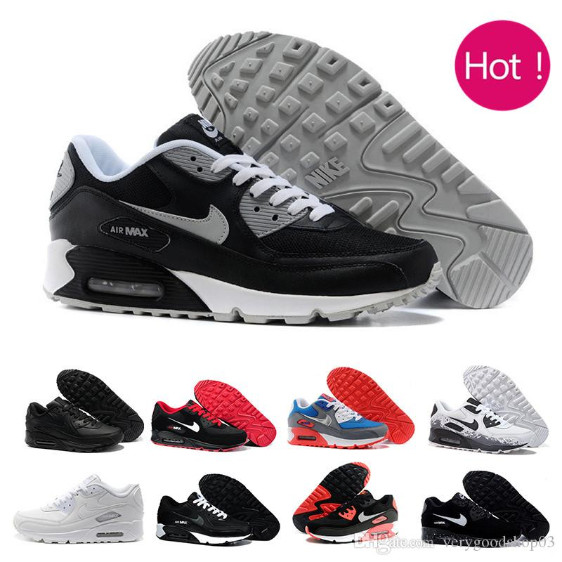 High Quality 2019 Air Cushion 90 Casual Running Shoes Cheap Black White Red 90 Men Women Sneakers Classic Air90 Trainer Outdoor W1-2Q
