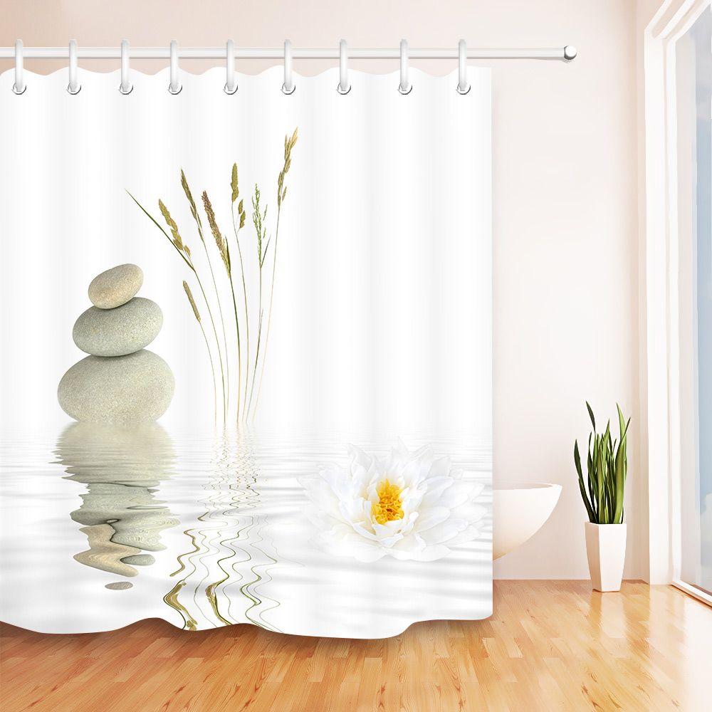 Pedras e branco Lotus na água cortina de chuveiro Zen SPA Banheiro branco impermeável extra longas Tecido de poliéster para Banheira Decor