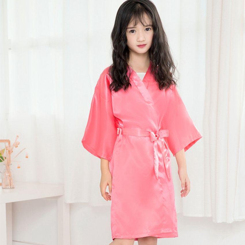 Дети Девушка Summer Одеяние Детские Девушки Твердая Шелковый сатин кимоно халат девочка Халат пижама пижама ночного халат LJJA3828