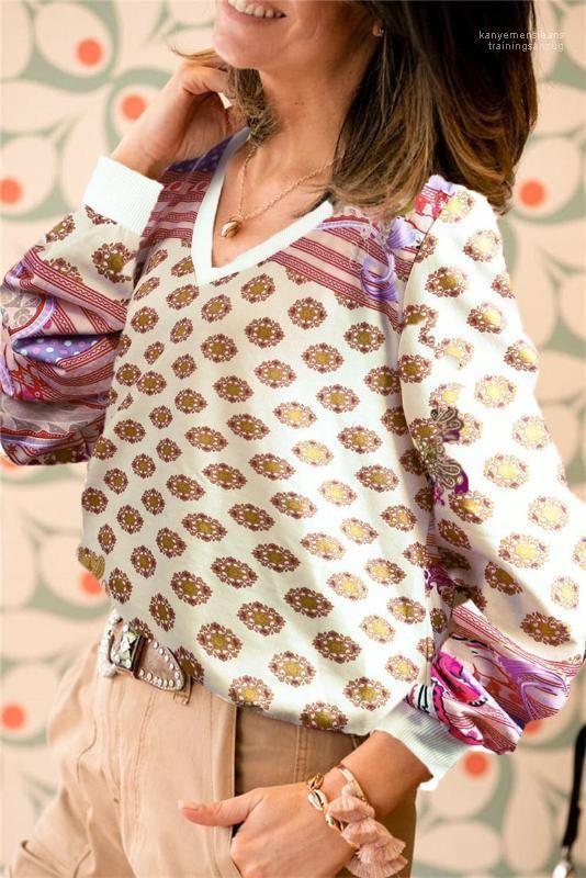 Casual Pulls Vêtements Femmes V Cou Hoodies Mode Imprimé Designer Femmes Sweatshirts