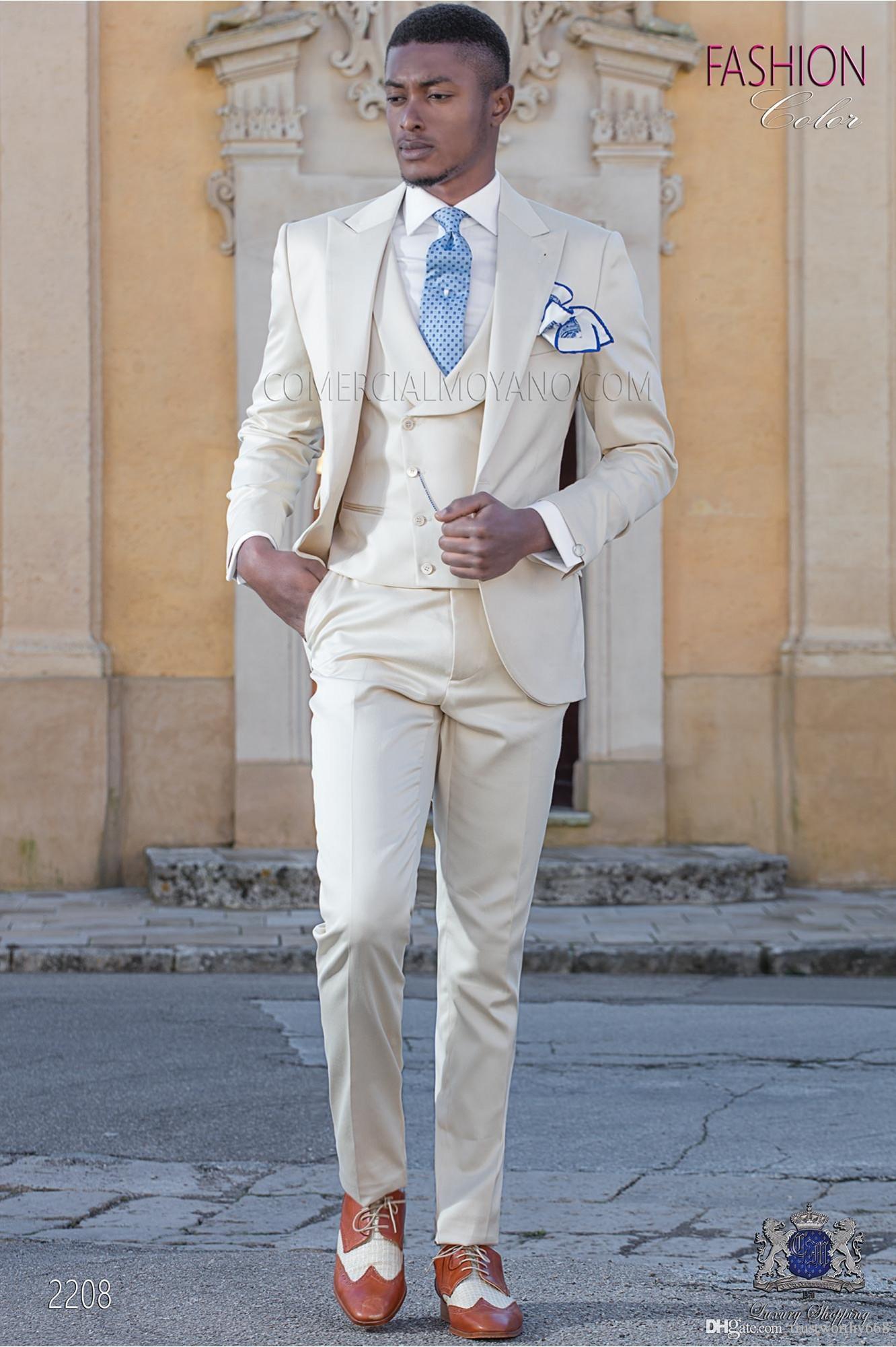 Nuovo arrivo One Button Groomsmen picco risvolto smoking dello sposo abiti da uomo da sposa / Prom Best Man Blazer (Jacket + Pants + Vest + Tie) 217