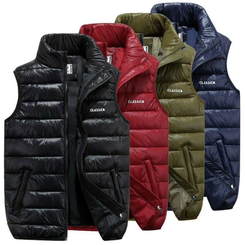 남성 조끼 4 색 남성 캐주얼 민소매 조끼 탑 코트 남성 패딩 재킷 퀼트 톱니 탑스 Zip Up Waistcoat outfits 플러스 크기