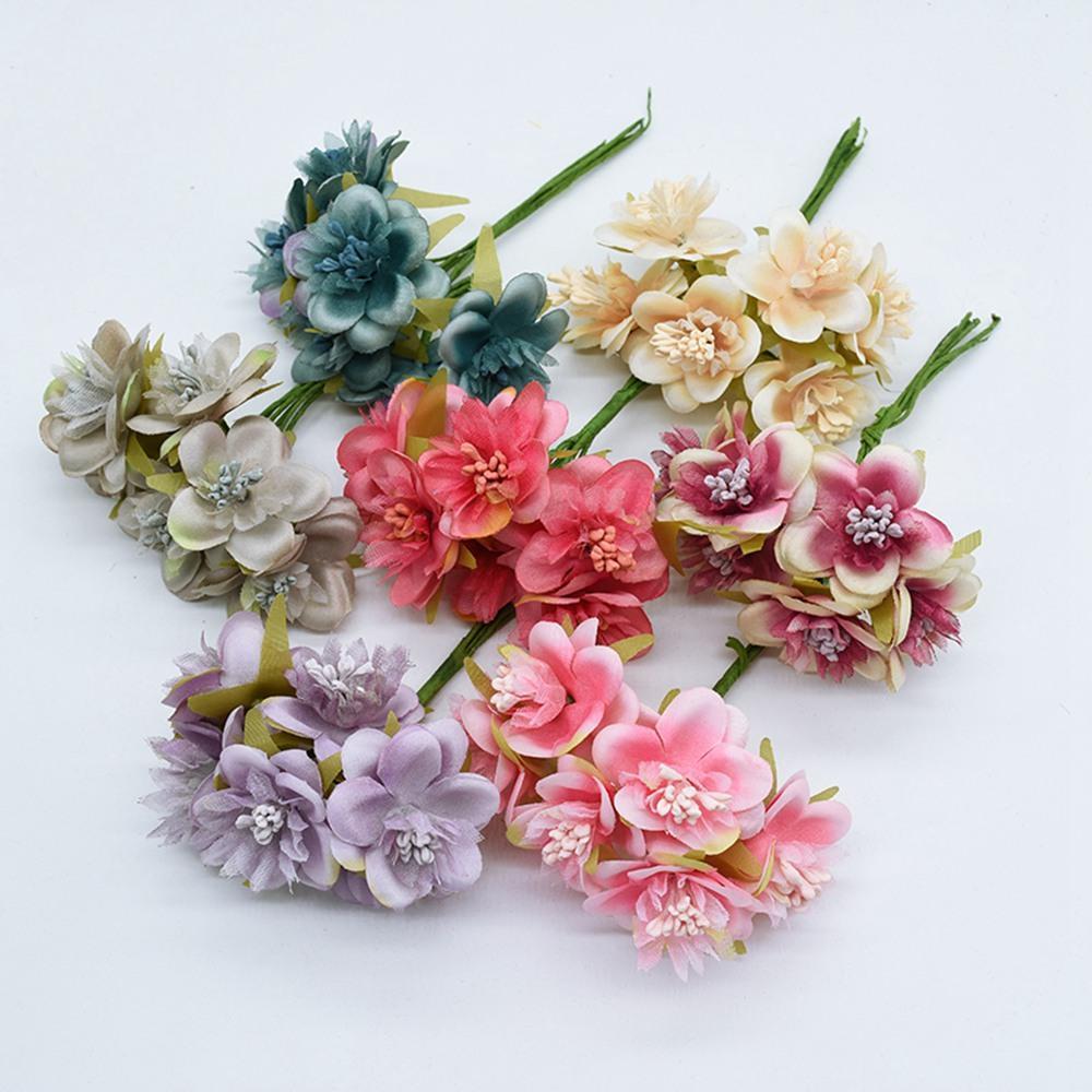 guirnalda de flores artificiales decoración del Año Nuevo de la Navidad DIY para la decoración del hogar accesorios de novia de seda aclaramiento la costura de cereza