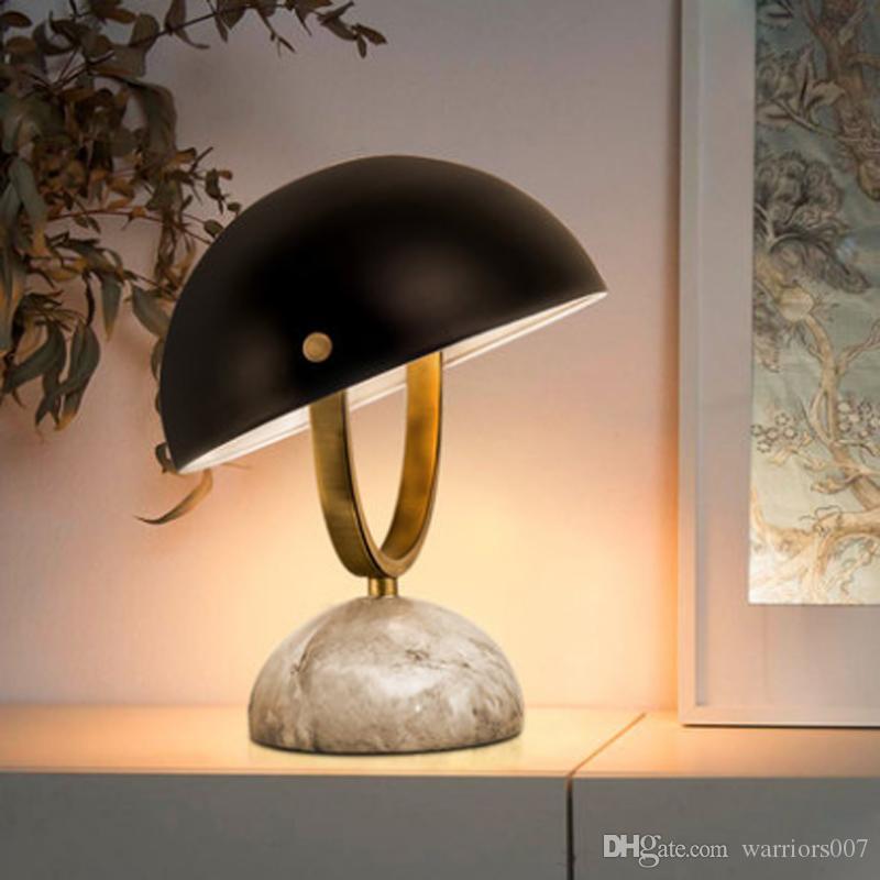الشمال بسيط معدنية شبه دائرية عاكس الضوء قابل للتعديل مصباح الطاولة الحديثة الديكور الدراسة الرخام الإبداعي الإضاءة E14 زر التبديل
