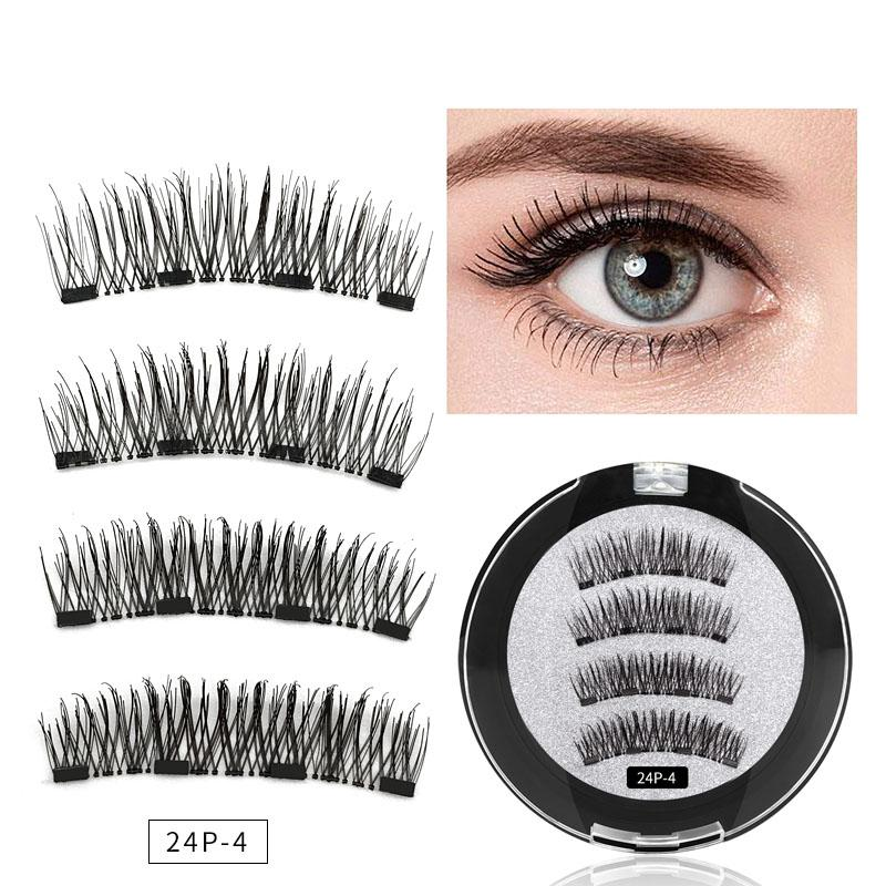 4 Cils magnétique Prolongement naturel faux cils 4 aimants magnétiques réutilisables faits à la main Faux Cils Eye 3D Outils de maquillage