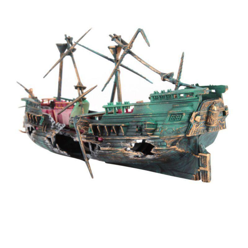 대형 깨진 보트 모양의 수족관 장식 물고기 탱크 분리 된 선크 난파선 부동 난파선 수족관 장식품
