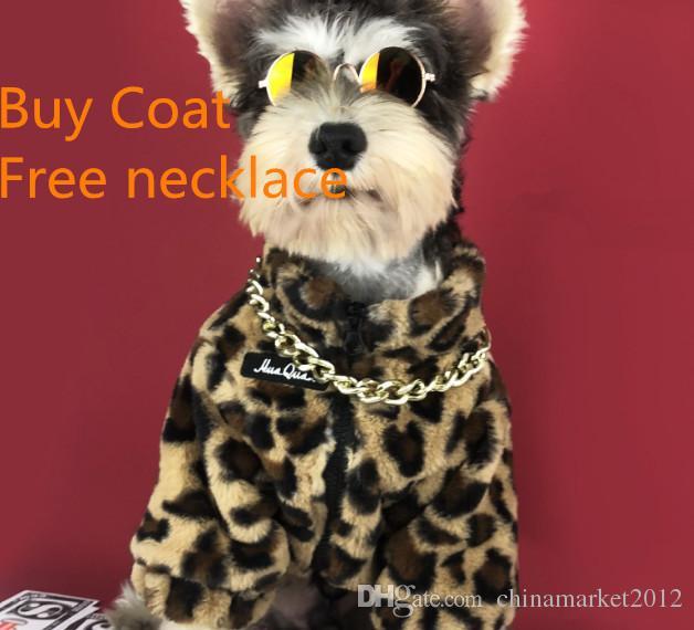 Kaufen Sie Mantel frei Halskette Leopard Dog Coat Winter Hundebekleidung Pet Jacke Hoodie Oberbekleidung Pudel Yorkies Bichon Pet Costume Outfit