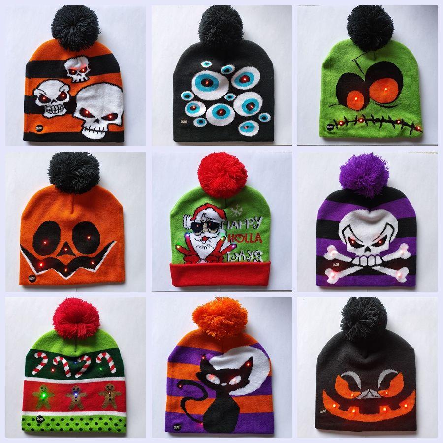 أدى عيد بيني محبوك القبعات تضيء للجنسين شتاء دافئ الجمجمة قبعات عيد الميلاد هالوين ديكور الأزياء أضاليا الكرة القبعات TTA1643
