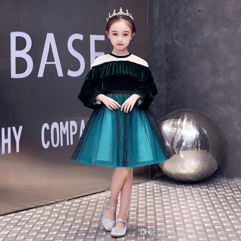 Doux Vert / Bleu Tulle Jewel manches courtes Fille Pageant Robes fille fleur Robes anniversaire Robes Custom Made Taille 2-14 XXYF306