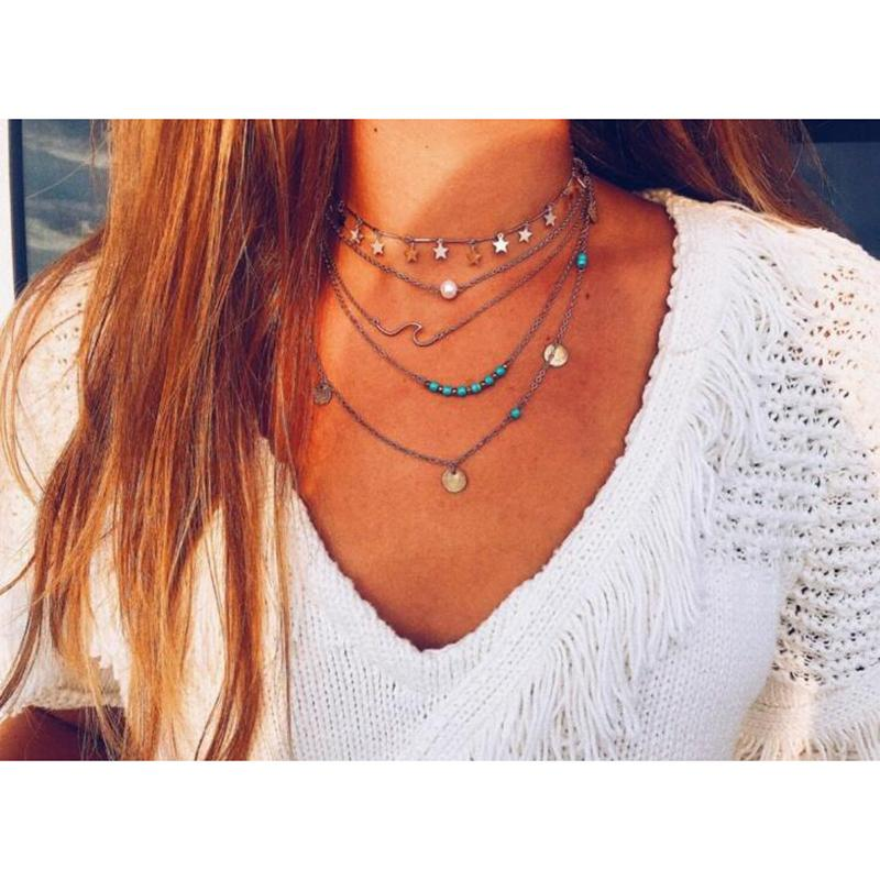 Золотой цвет Choker ожерелье для женщин 5 слоев блестки камень кулон цепи Ожерелья Подвески бархатные Чокеры Мода ювелирные изделия