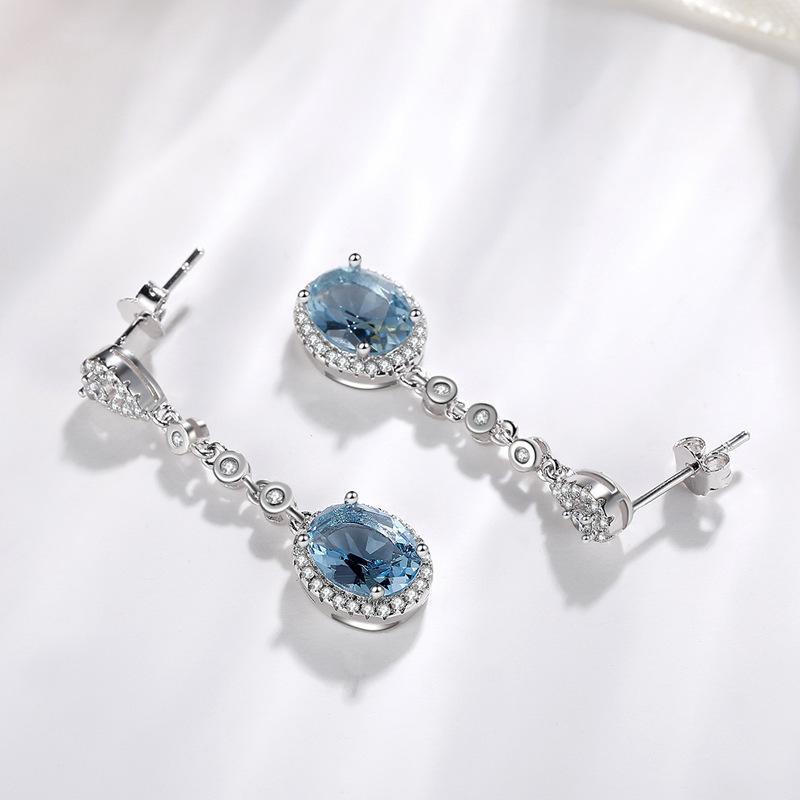 Blue Sapphire Topaz Earring for Women 925 Silver Bizuteria Gemstone aretes de mujer oorbellen Drop Earring for Girl orecchini CX200707