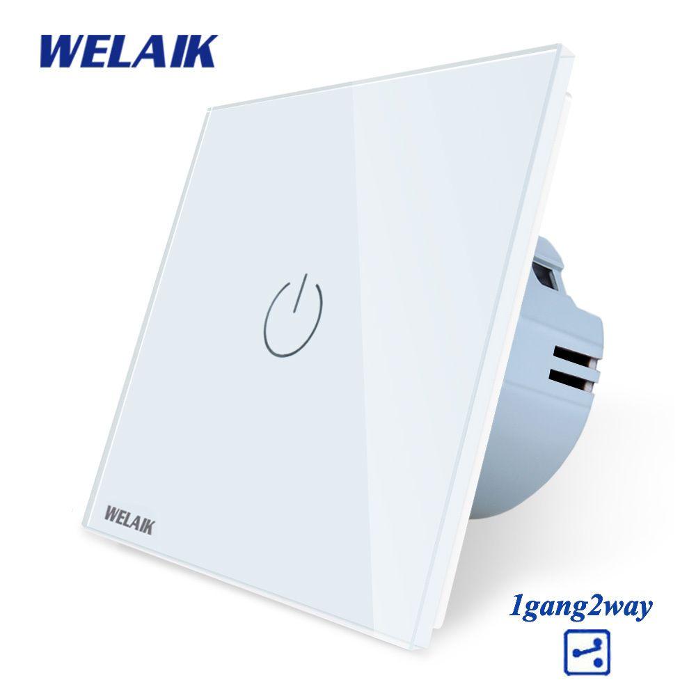 WELAIK UE 1gang2way Escadas-Touch-Switch Crystal-Glass-Panel-Switch-Wall-Switch Smart-Intelligent Light-interruptor AC250V A1912CW Y200407