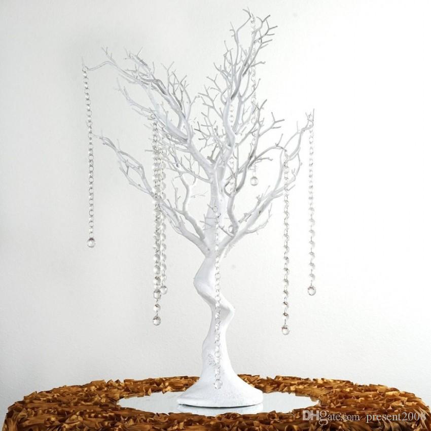 """30"""" Manzanita Yapay Ağaç Beyaz Centrepiece Parti Yolu Kurşun Masa üstü Düğün Dekorasyon 20 kristal Zincirler"""