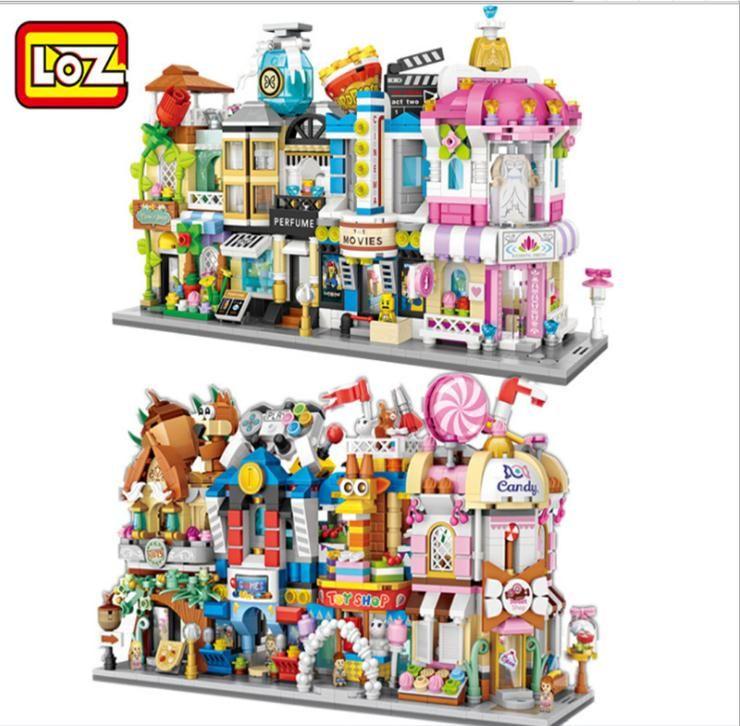 Loja LOZ MINI Blocos Rua Cena Ver Mini Building Blocks Coffee Shop Retail Arquiteturas modelos de construção Toy Teste Toy Natal