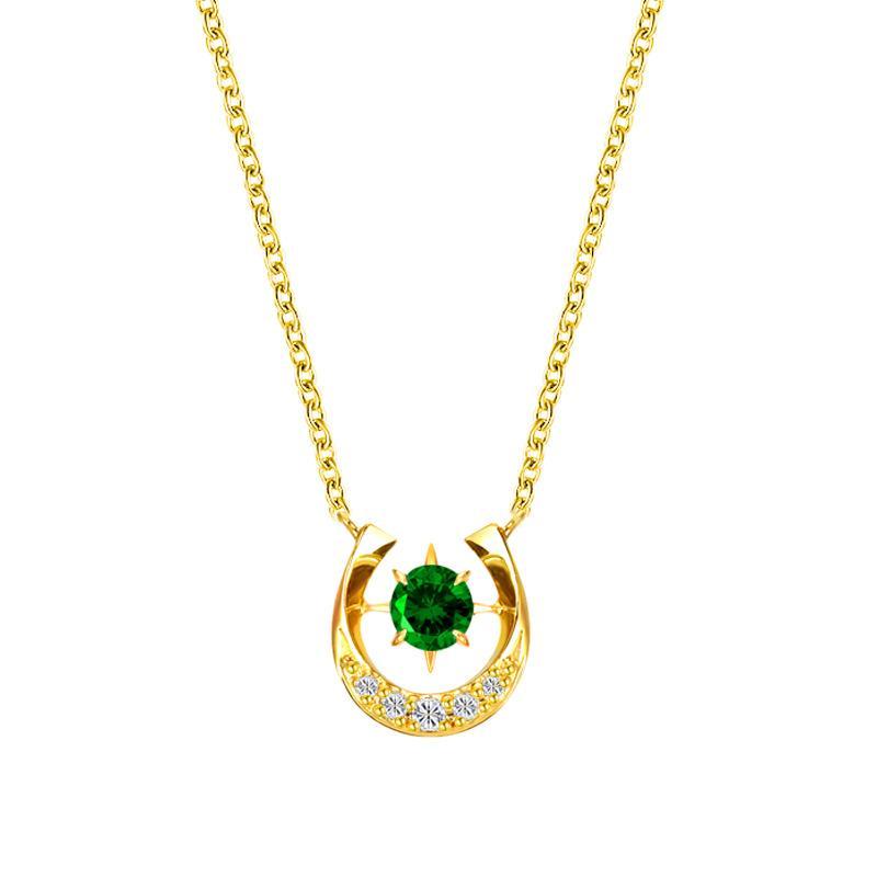 B S925 Sterling Silver collana a forma di U di zirconio a ferro di cavallo elegante del pendente Emerald Necklace femminile gioielli semplice catena della clavicola MOQ1