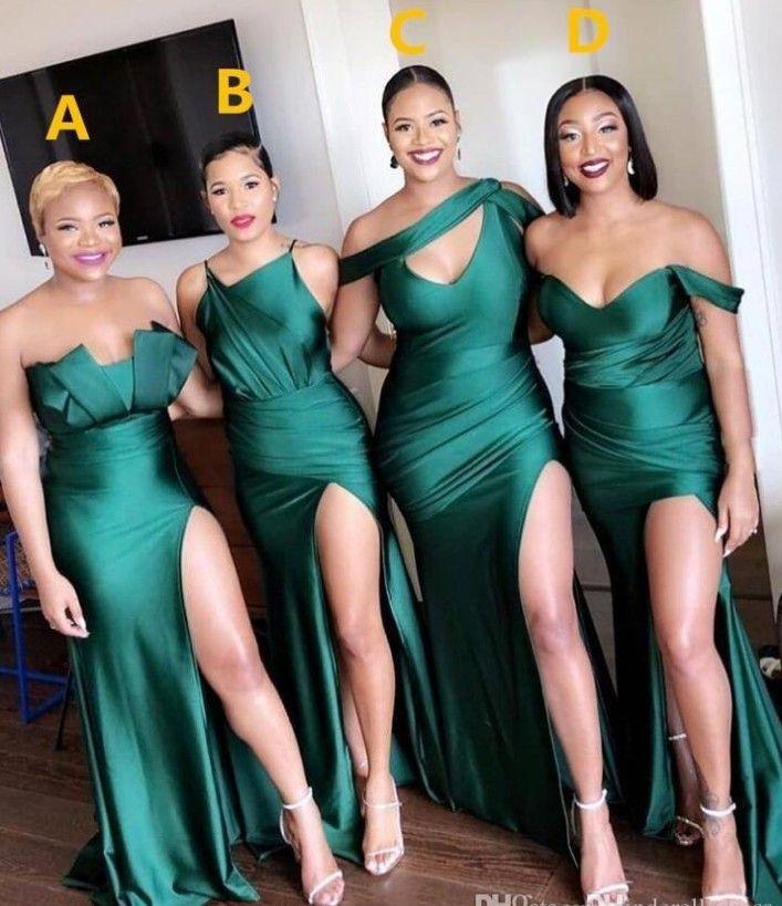 2020 Sexy Turquoise Green Side Split Brautjungfernkleider Lange Trauzeugin Kleid-Nixe Hochzeitsgast Abendkleid