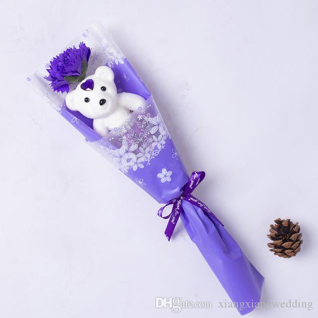 الدب الصابون واحد زفاف زهرة هدية عيد الحب روز باقة الزهور هدية عيد المعلم قرنفل الزهور للبيع بالجملة