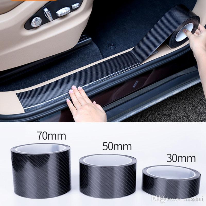 5D 자동차 스티커 탄소 섬유 비닐 3D 스티커 및 스티커 전사 스크래치 방지 자동차 도어 트렁크 범퍼 보호대 액세서리