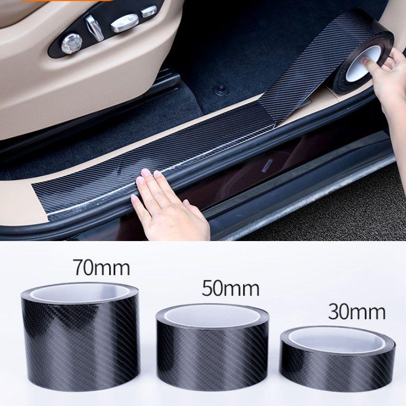 5D 자동차 스티커 탄소 섬유 비닐 3D 스티커 및 데칼 안티 스크래치 필름 자동차 도어 트렁크 범퍼 보호기 액세서리