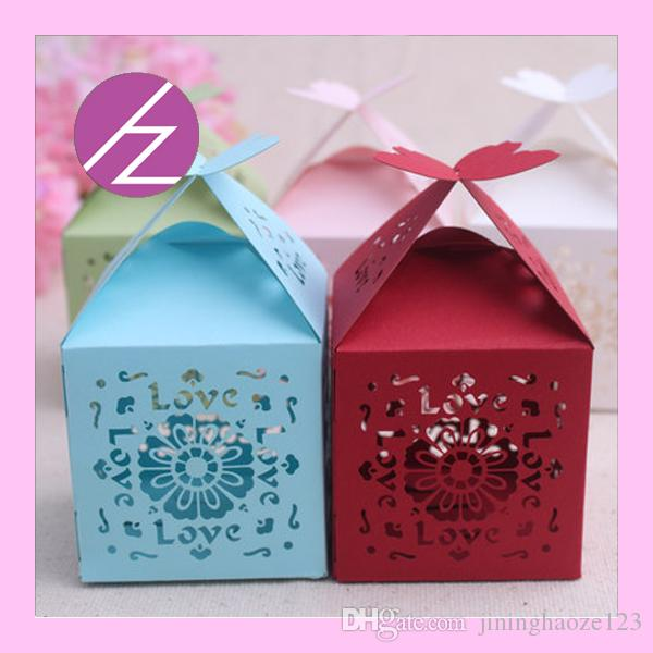 Exquisite love lilies window Laser Cut pearl Candy Chocolate Gift Boxes Bridal Birthday box with Ribbons castle wedding souvenirs
