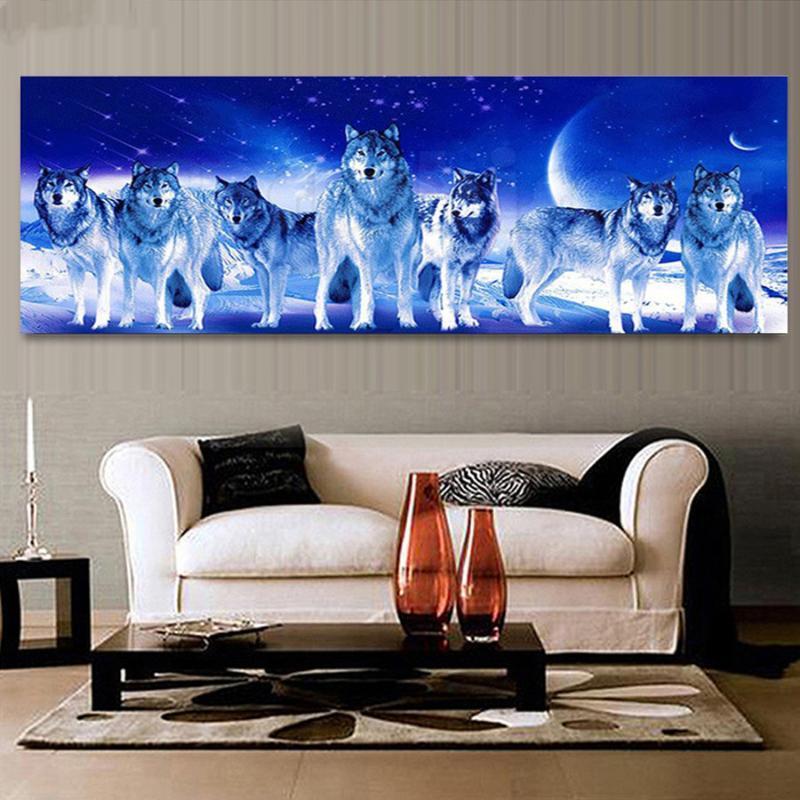 diamante de gran tamaño del bordado de luz de la luna del lobo 5d diamante pintura completa Ronda de punto de cruz mosaico pedrería AS27 patrón de animales
