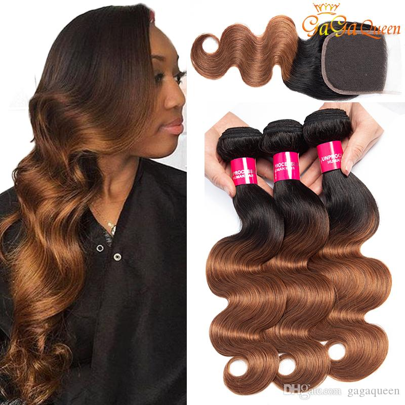 Ombre Brazilian Body Wave Human Hair Bundles With 4X4 Lace Closure 1B/30 Blonde Brazilian Human Hair Weave 3 Bundles With Closure