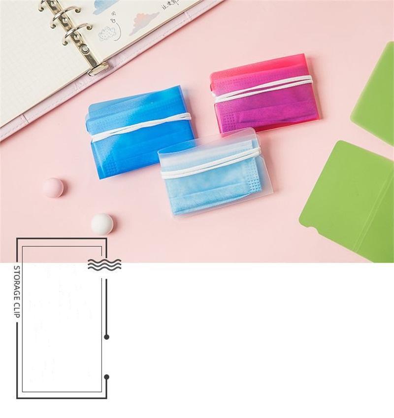 حامل جهاز التنفس الصناعي الواقي ضد الماء مطوي أقنعة الوجه البلاستيكية منظم تخزين قناع الفم الشفاف مربع 5 ألوان 0 2bk E19