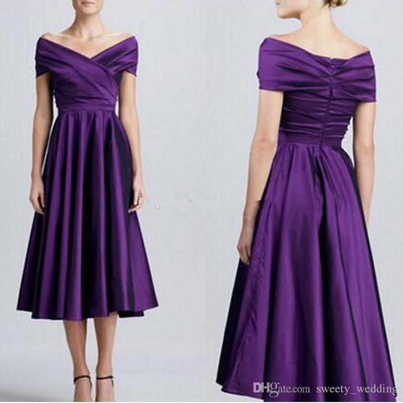 Off Shoulder Dark Purple Bridesmaid Dresses Elegant Simple Satin Short Bridesmaid Dresses Tea Length Aline Bridesmaid Gowns Party Dress