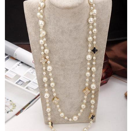 ㄱ 높은 품질을 모조 진주 긴 목걸이는 여자를 위한 우아한 파티 보석 겹켜 목걸이 n0320y856