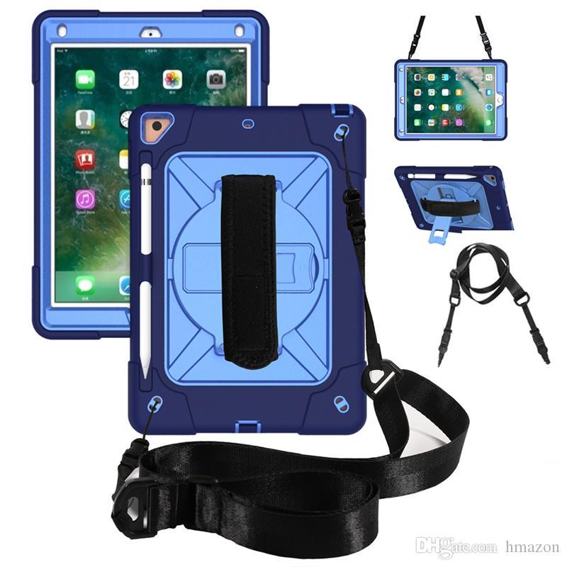Hybride anti-choc Dragonne Bracelet doit-stylo boîtier pour iPad 7 Gen 10.2 Mini 4/5 air 2 / pro 9.7 pour Samsung T515 T510 T290