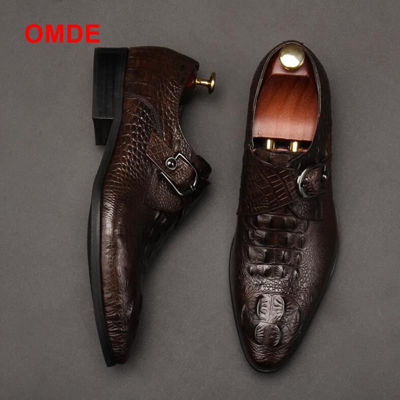 OMDE New Fashion Alligator Pattern Single Monk Strap Formal Shoes Men Pointed Toe Dress Shoes Breathable Groom Wedding