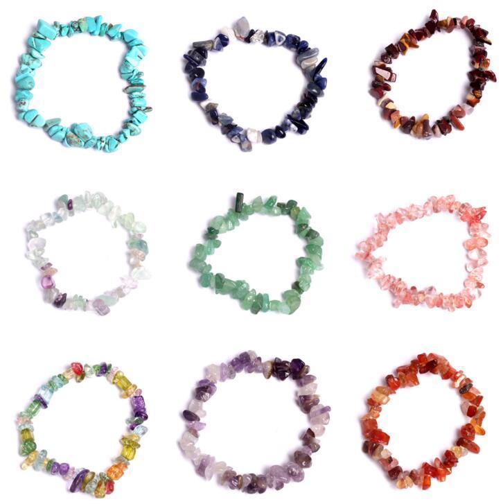 Natural Healing Crystal Bracelet Sodalite Chip Gemstone 18cm Stretch Bracelet Natural Stone Bracelets Mixed Gemstone Chakra Bracelet Bijoux