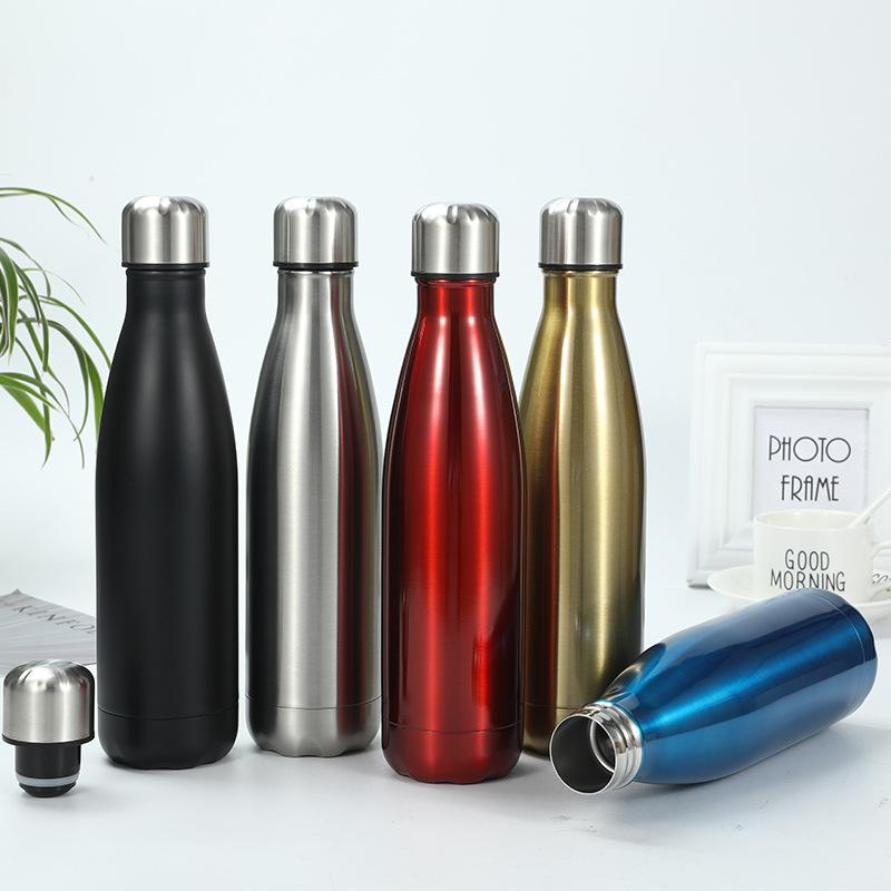 Stainless Steel Cola Shaped Water bottle 500ML Vacuum Insulated tumbler Outdoor sport Travel Cups Creative Coke Bowling Water Bottles