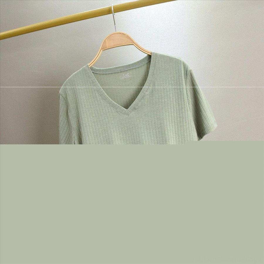V-neck short-sleeved base wide stripe shirt striped T-shirt all-match solid color women's top