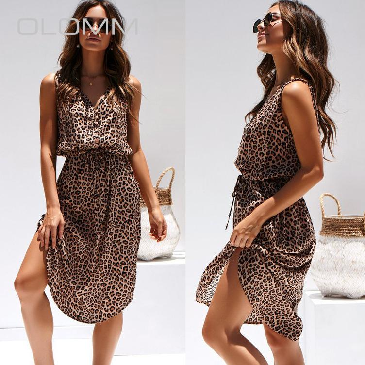 2020 New Fashion Casual Elegant Temperament New V-neck Sleeveless Leopard Print Waist Hugging Dress Women