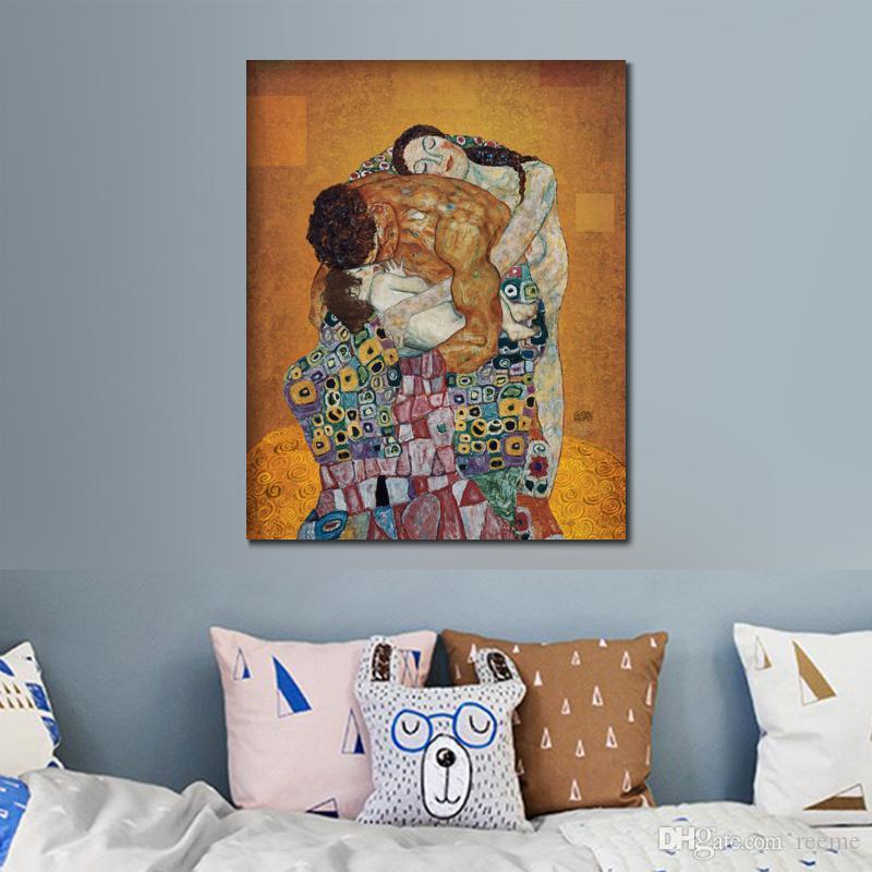 Alta calidad pinturas al óleo hechas a mano Gustav Klimt El familiares Reproducción romántica cuadro del amor para la decoración del dormitorio