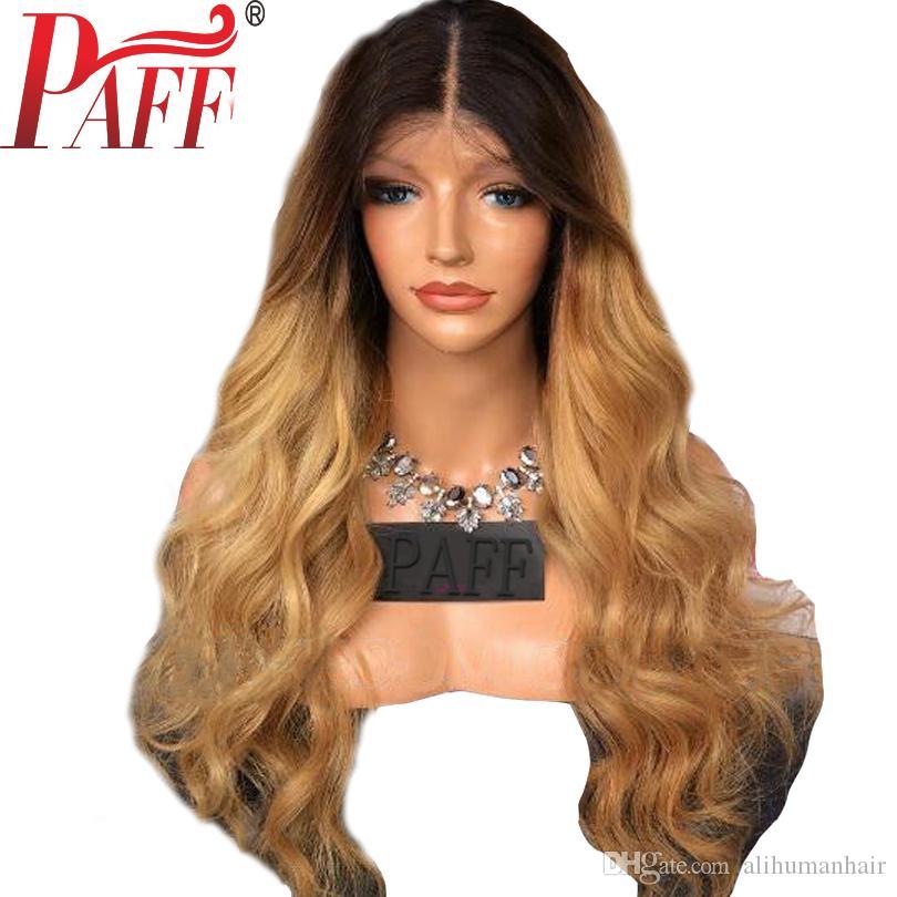 PAFF Ombre tam dantel İnsan saç peruk Brezilyalı vücut dalga iki ton Sarışın # 1B 27 İnsan saç peruk Orta kısmı ile bebek saç