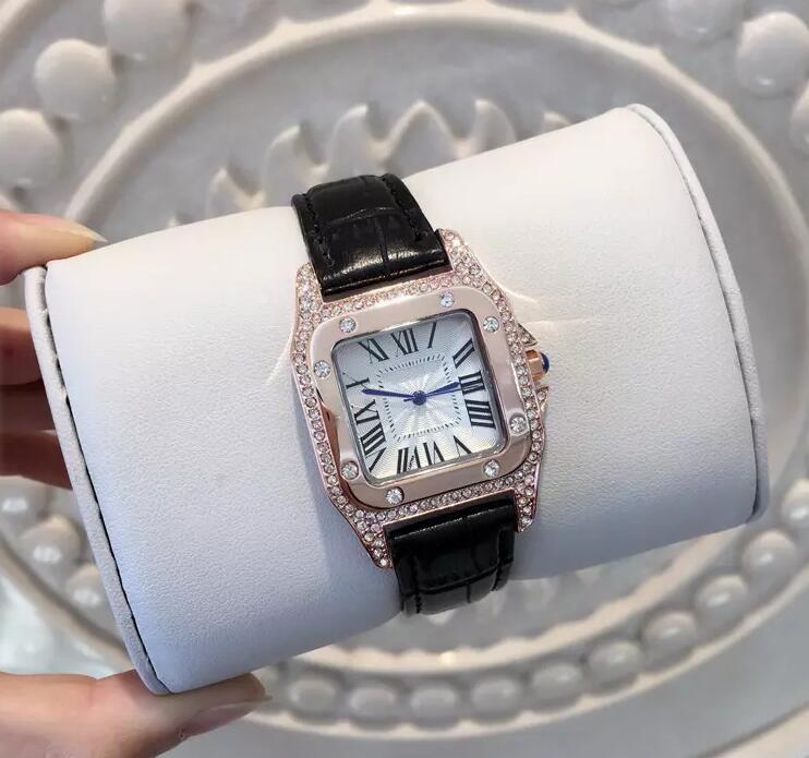 2017 جديد أزياء فستان الماس اليد الملونة ماركة c جلد طبيعي ساعة الكوارتز ساعات للنساء ساعة كامل الماس ساحة الطلب الوجه