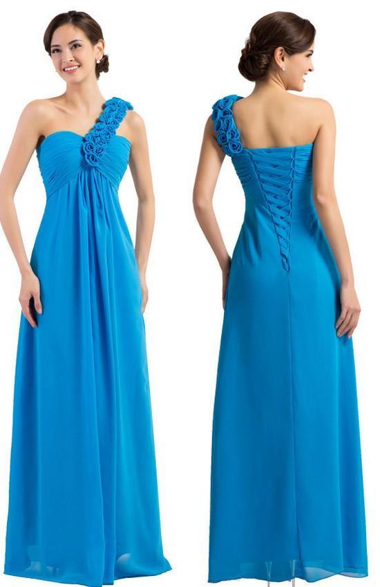2020 элегантный синий одно плечо платья невесты дешевые длинные шифон ручной работы цветы свадебный гость Пром вечернее платье оптовая цена