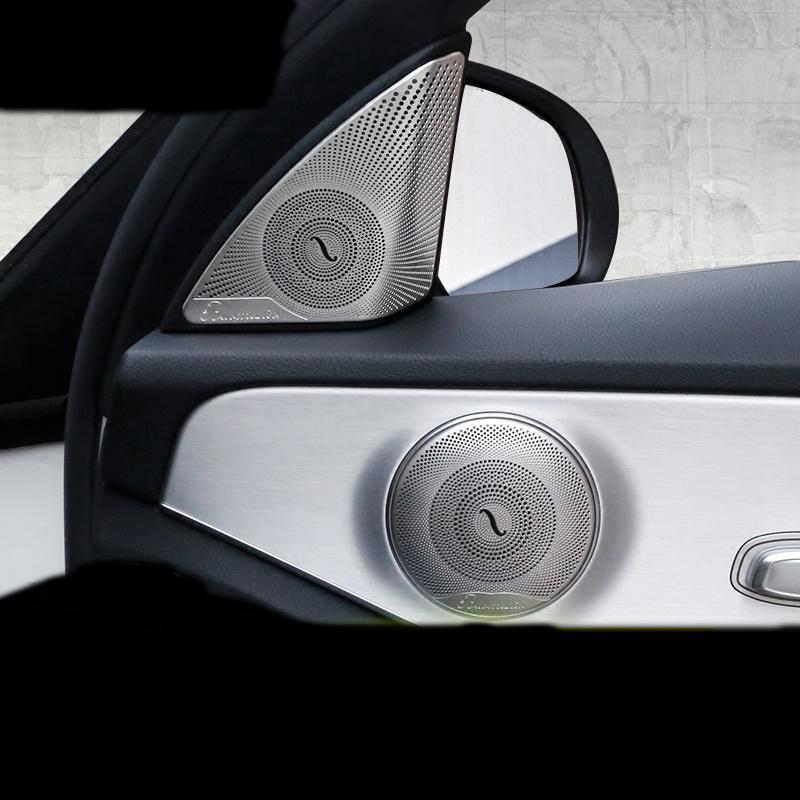 자동차 스타일링 도어 오디오 스테레오 스피커 지붕 독서 라이트 패널 프레임 커버 트림은 메르세데스 벤츠 C 클래스 W205 액세서리에 대한 스티커를 제거합니다