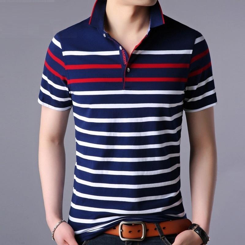 폴로 셔츠 남성 스트라이프 대비 색 폴로 옴므 부드러운 소재 클래식 디자인 SH190718