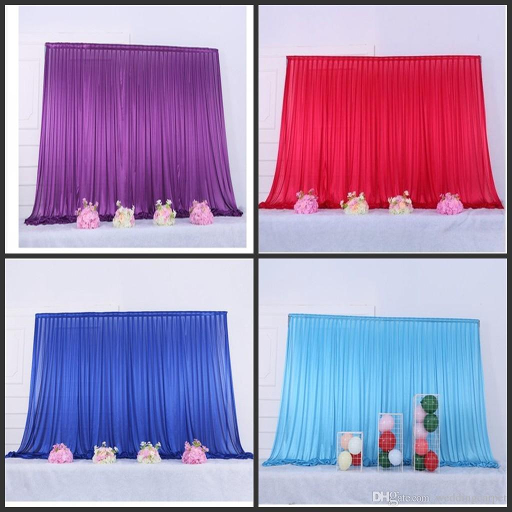 10x10ft Ice silk elegant wedding backdrop curtain drape wedding supplies curtain drapes background for party event Tied/Piped