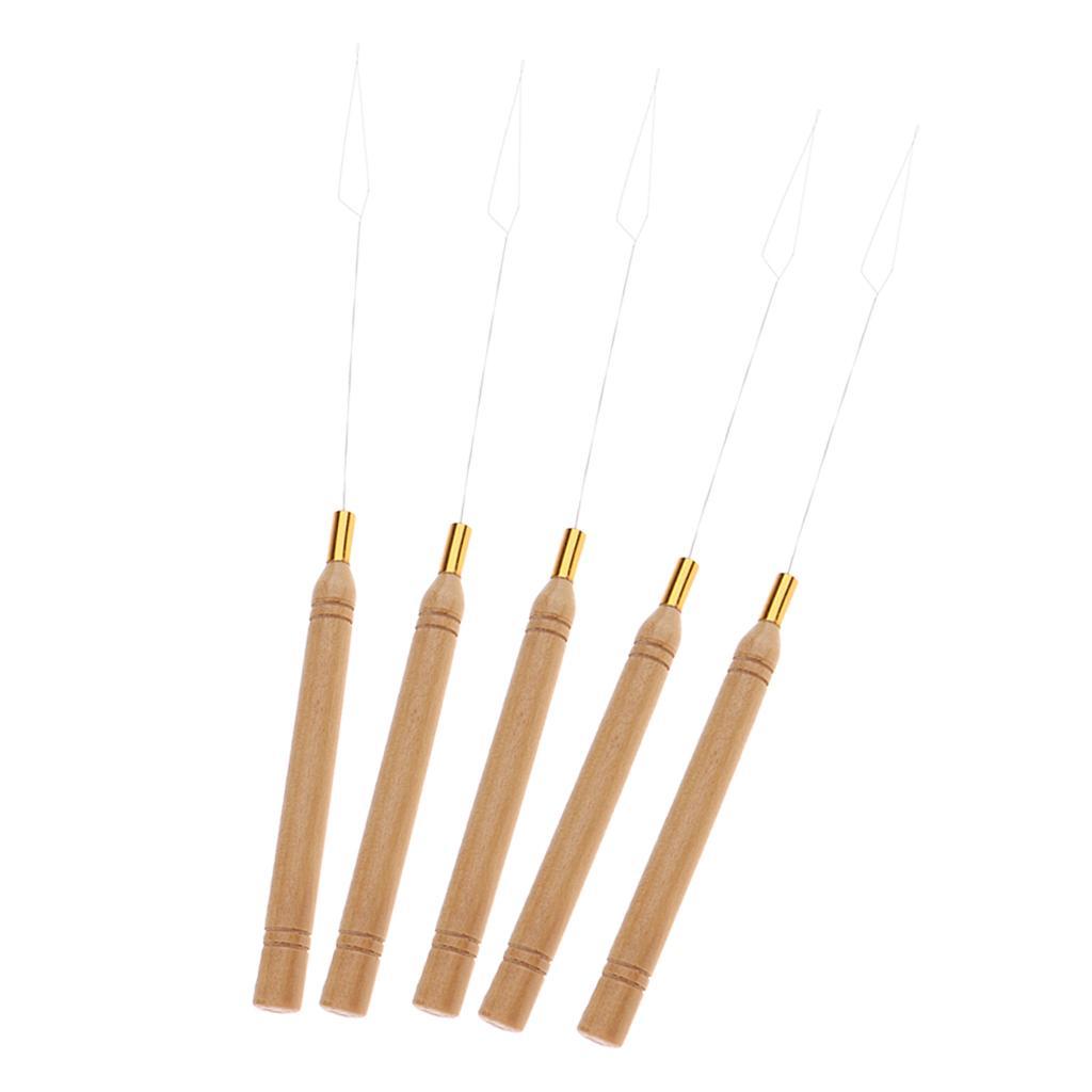 5 قطع مقبض خشبي ملحقات الشعر حلقة إبرة الإبرة سحب أدوات العناية بالشعر التصميم