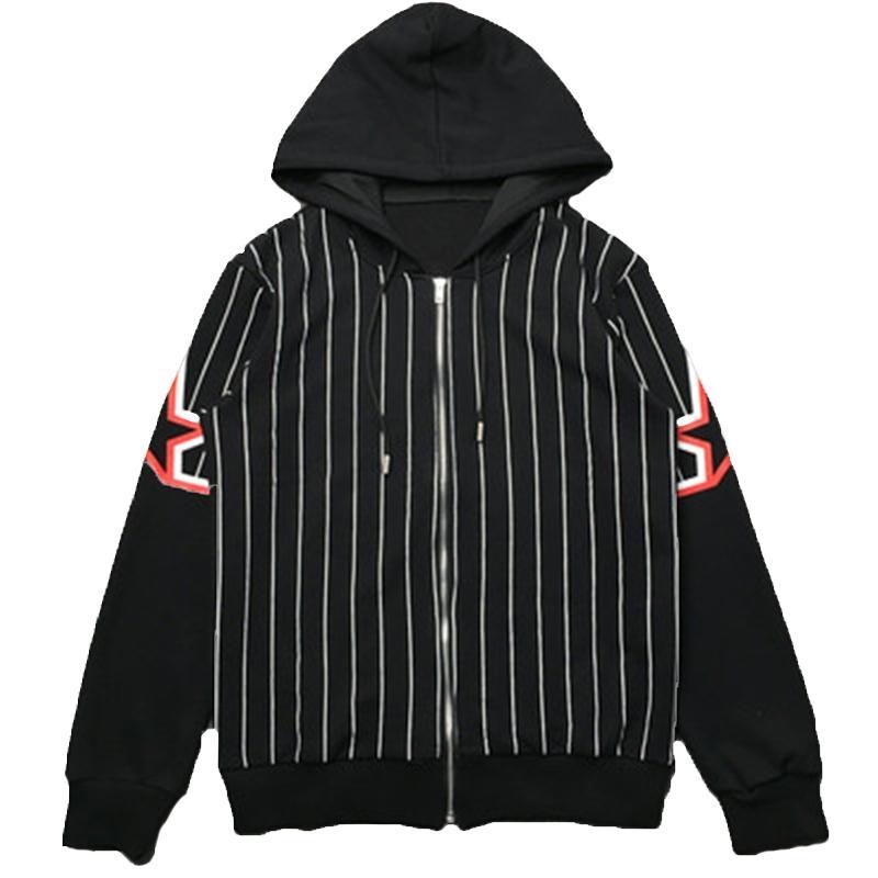 Mens Stylist Jacket Outerwear Homens Mulheres de alta qualidade Stripe Impressão Jaquetas Moda Mens Stylist com capuz casacos tamanho M-XXL