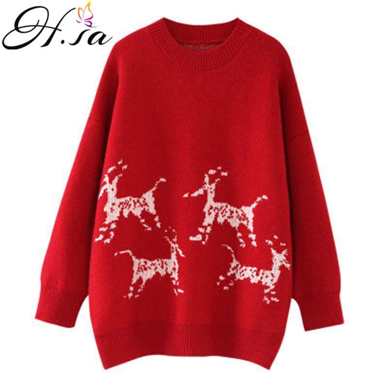 HSA 느슨한 캐주얼 스웨터와 점퍼 크루 넥 크리스마스 사슴 빨간 스웨터 따뜻한 두꺼운 겨울 풀 점퍼를 풀오버 여성 탑