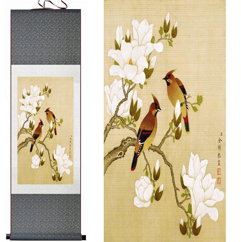 Pássaros E Flores Brancas Pintura Home Office Decoração Pintura De Rolagem Chinesa