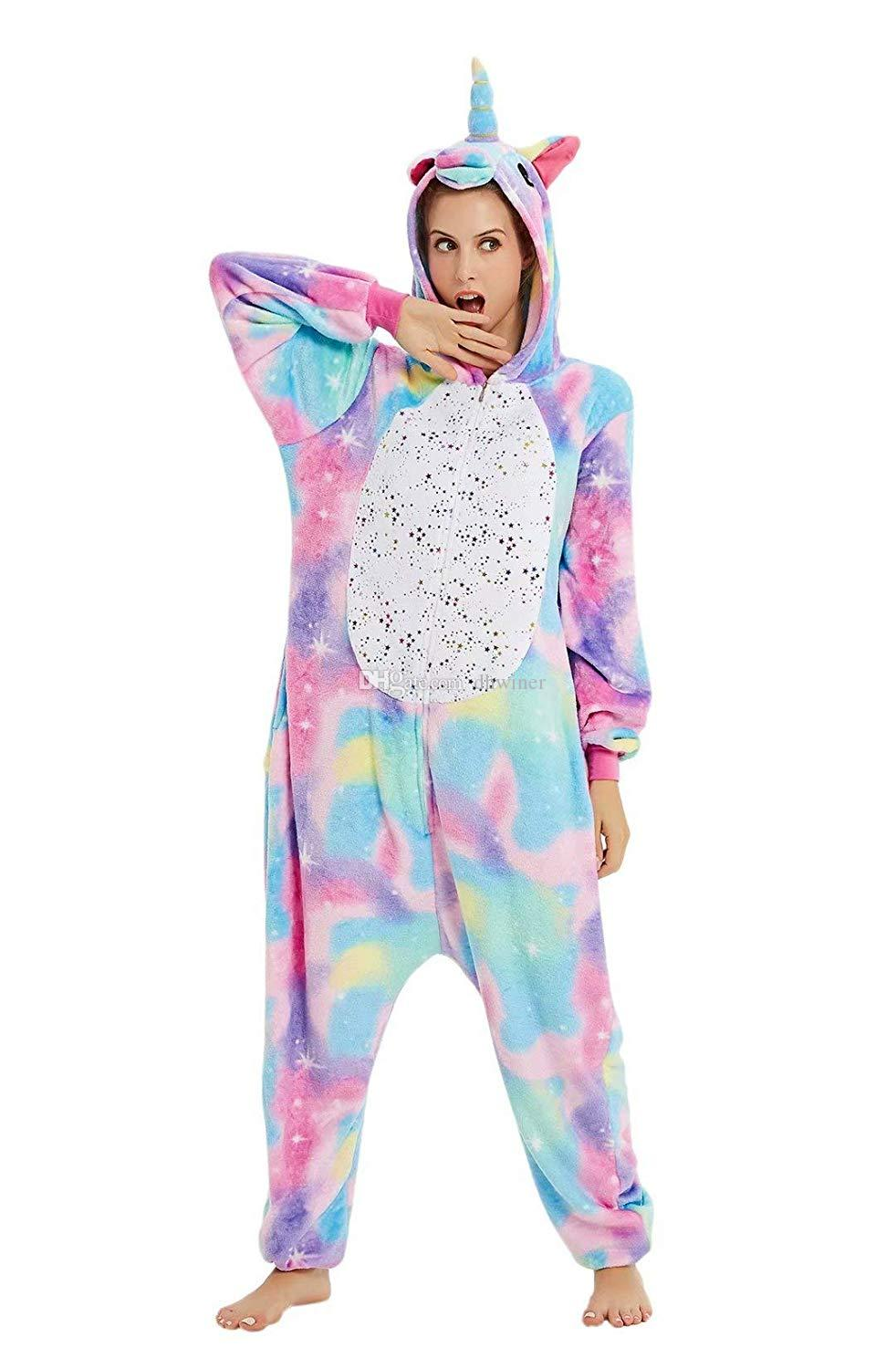 Unisex Unicorn Costume Pyjamas Kigurumi Halloween Cosplay Onepiece Animal Outfit