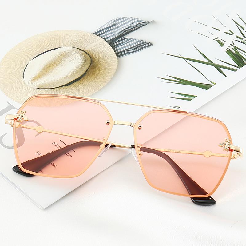 라운드 선글라스 명품 여성 안경 골드 플래시 유리 렌즈 여성들 빈티지 레트로 금속 프레임 거울 일 안경 상자와 케이스